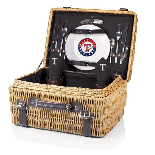 Picnic Time Texas Rangers Black Champion Willow Picnic Basket with Service for 2
