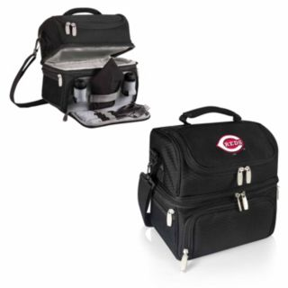 Picnic Time Cincinnati Reds Black Pranzo 7-Piece Insulated Cooler Lunch Tote Set