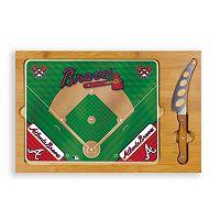 Picnic Time Atlanta Braves Icon Rectangular Cutting Board Gift Set