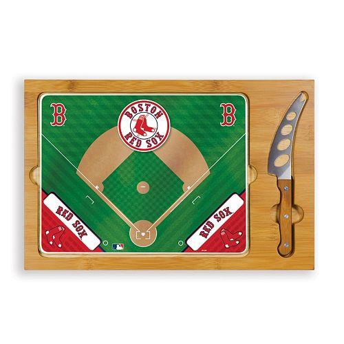 Picnic Time Boston Red Sox Icon Rectangular Cutting Board Gift Set