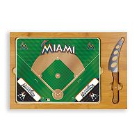 Picnic Time Miami Marlins Icon Rectangular Cutting Board Gift Set