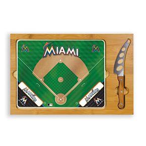 Picnic Time Miami Marlins Icon Rectangular Cutting Board Gift Set