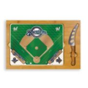 Picnic Time Milwaukee Brewers Icon Rectangular Cutting Board Gift Set