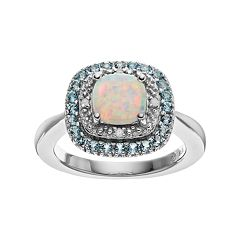 Sterling Silver Lab-Created White Opal & Blue Topaz Halo Ring