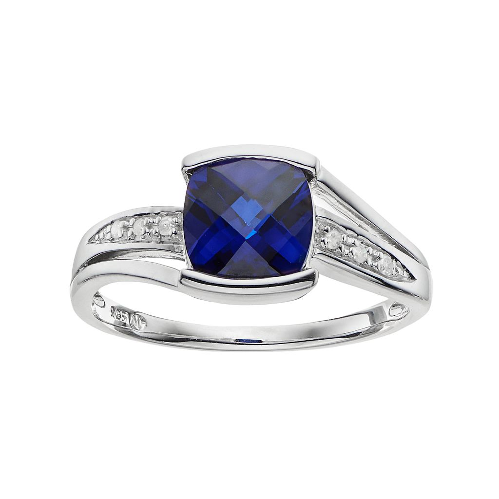 Lab-Created Blue Sapphire & Diamond Accent Sterling Silver Ring
