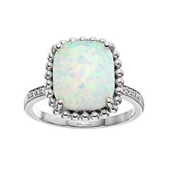 Lab-Created White Opal & White Sapphire Sterling Silver Halo Ring