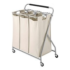 Whitmor Triple Sorter Rolling Laundry Cart