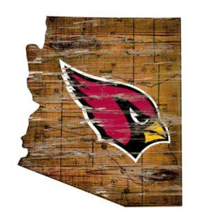 "Arizona Cardinals Distressed 24"" x 24"" State Wall Art"