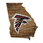 Atlanta Falcons Distressed 24' x 24' State Wall Art