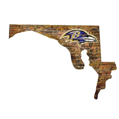 "Baltimore Ravens Distressed 24"" x 24"" State Wall Art"