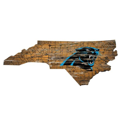 "Carolina Panthers Distressed 24"" x 24"" State Wall Art"