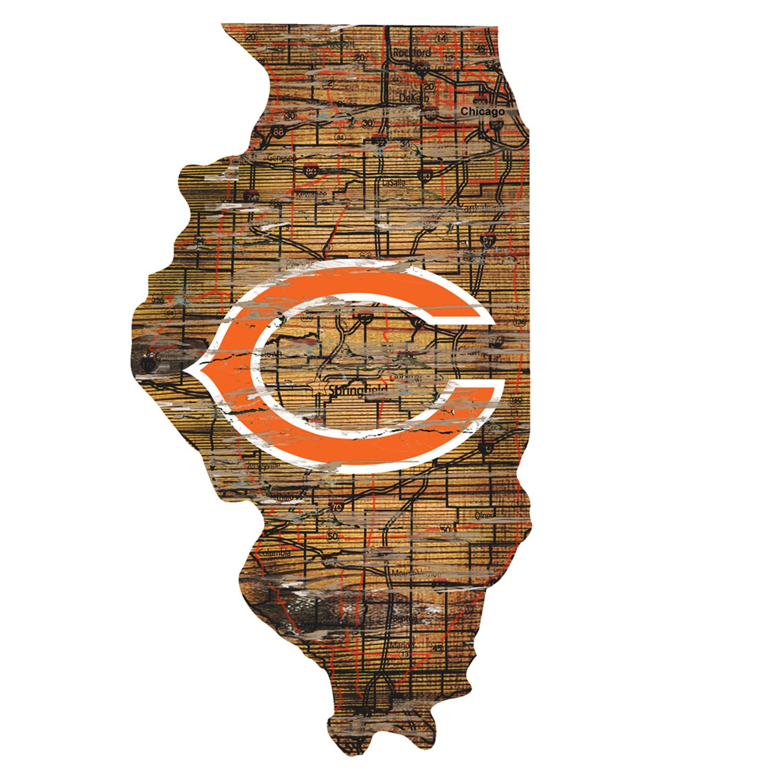 Chicago Bears Distressed 24u0027 X 24u0027 State Wall Art