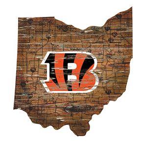 "Cincinnati Bengals Distressed 24"" x 24"" State Wall Art"