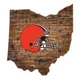 """Cleveland Browns Distressed 24"""" x 24"""" State Wall Art"""
