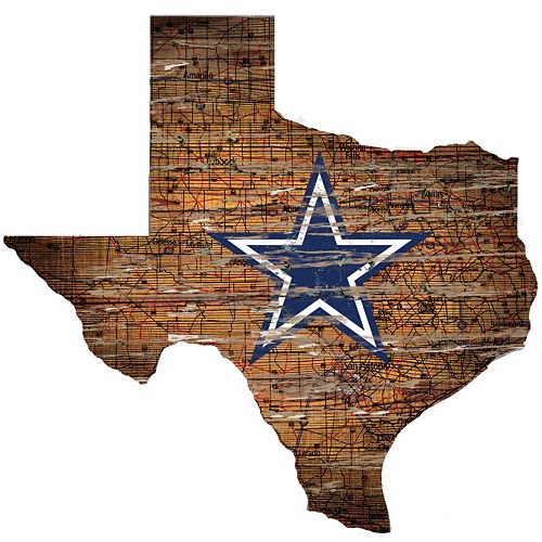 "Dallas Cowboys Distressed 24"" x 24"" State Wall Art"