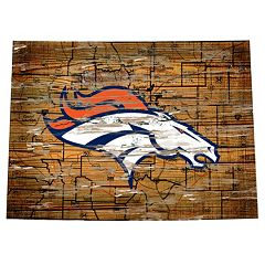 Denver Broncos Distressed 24' x 24' State Wall Art