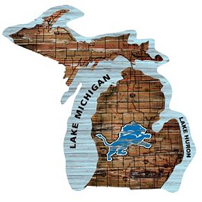 """Detroit Lions Distressed 24"""" x 24"""" State Wall Art"""