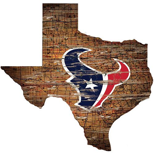 "Houston Texans Distressed 24"" x 24"" State Wall Art"