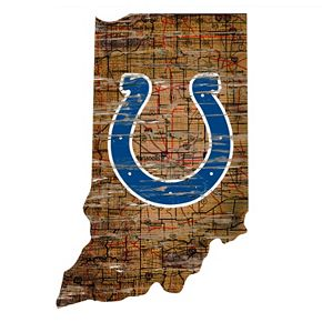 "Indianapolis Colts Distressed 24"" x 24"" State Wall Art"