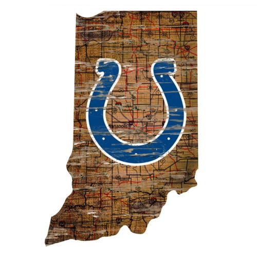 """Indianapolis Colts Distressed 24"""" x 24"""" State Wall Art"""