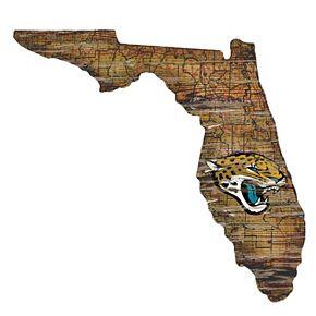 "Jacksonville Jaguars Distressed 24"" x 24"" State Wall Art"