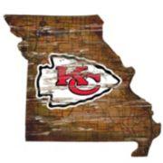 "Kansas City Chiefs Distressed 24"" x 24"" State Wall Art"
