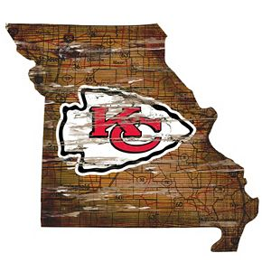 "Kansas City Chiefs Distressed 24"" x 24"" State Wall Art"