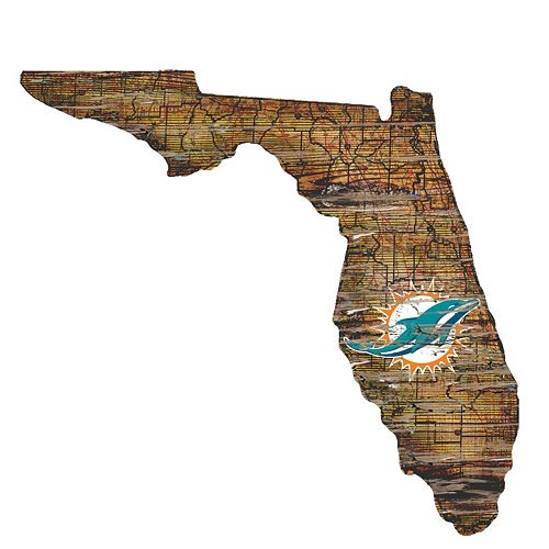 "Miami Dolphins Distressed 24"" x 24"" State Wall Art"