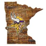 """Minnesota Vikings Distressed 24"""" x 24"""" State Wall Art"""