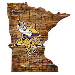 Minnesota Vikings Distressed 24' x 24' State Wall Art