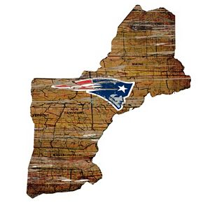 "New England Patriots Distressed 23.5"" x 12.5"" State Wall Art"