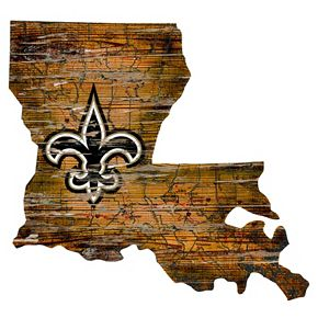 "New Orleans Saints Distressed 24"" x 24"" State Wall Art"