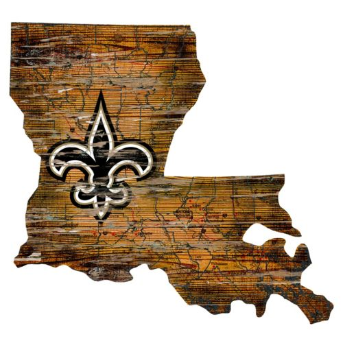 New Orleans Saints Distressed 24 x 24 State Wall Art