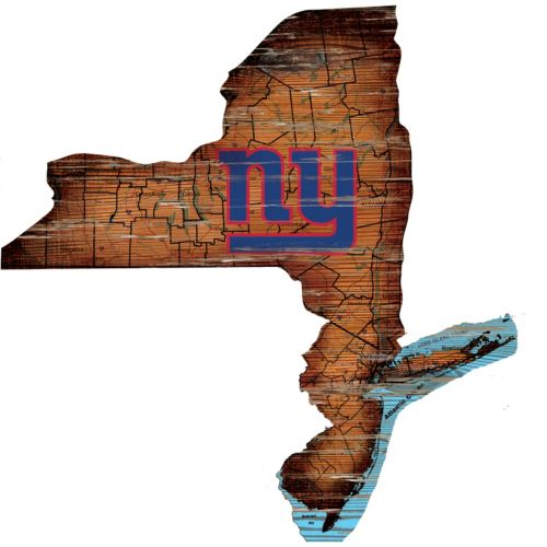 "New York Giants Distressed 24"" x 24"" State Wall Art"