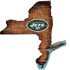 New York Jets Distressed 24' x 24' State Wall Art