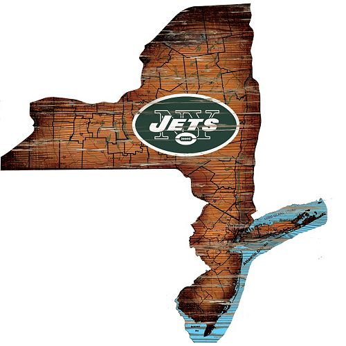 "New York Jets Distressed 24"" x 24"" State Wall Art"