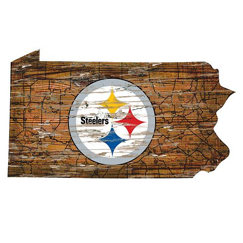 """Pittsburgh Steelers Distressed 24"""" x 24"""" State Wall Art"""