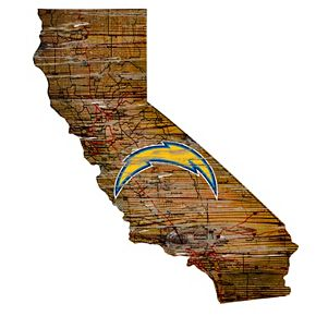 "San Diego Chargers Distressed 24"" x 24"" State Wall Art"