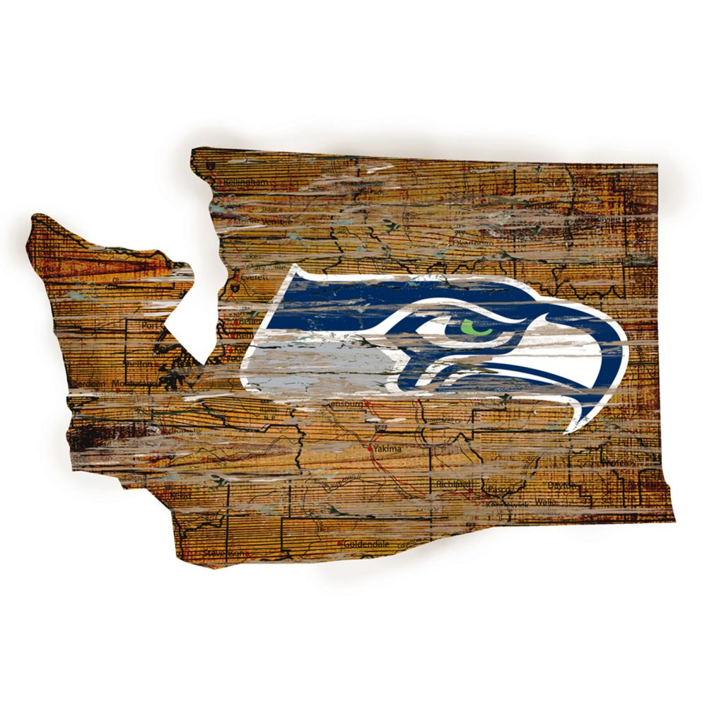 "Seattle Wall Art seahawks distressed 24"" x 24"" state wall art"