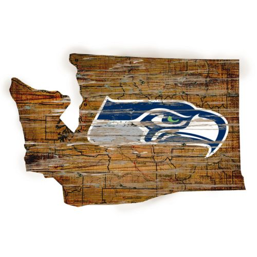 "Seattle Seahawks Distressed 24"" x 24"" State Wall Art"