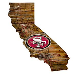 """San Francisco 49ers Distressed 24"""" x 24"""" State Wall Art"""