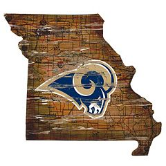 Los Angeles Rams Distressed 24' x 24' State Wall Art