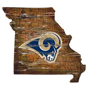 """Los Angeles Rams Distressed 24"""" x 24"""" State Wall Art"""