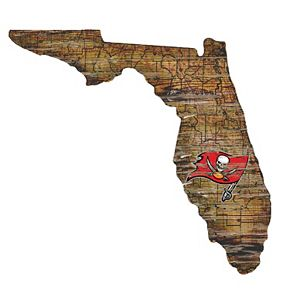 """Tampa Bay Buccaneers Distressed 24"""" x 24"""" State Wall Art"""