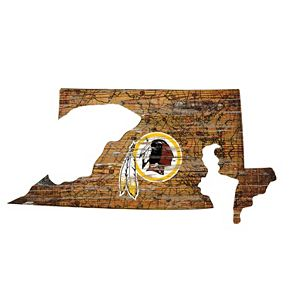 "Washington Redskins Distressed 24"" x 24"" State Wall Art"