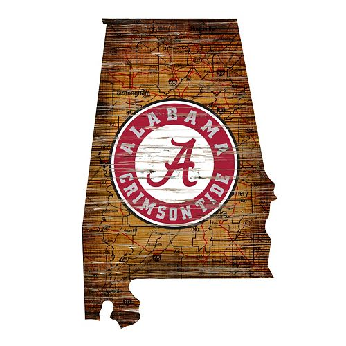 "Alabama Crimson Tide Distressed 24"" x 24"" State Wall Art"