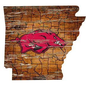 """Arkansas Razorbacks Distressed 24"""" x 24"""" State Wall Art"""