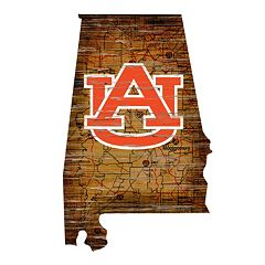 Auburn Tigers Distressed 24' x 24' State Wall Art