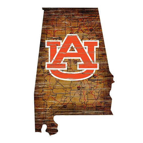 """Auburn Tigers Distressed 24"""" x 24"""" State Wall Art"""