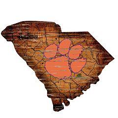 Clemson Tigers Distressed 24' x 24' State Wall Art